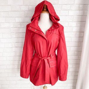 Johnston & Murphy Red Hooded Trench Coat Large